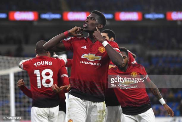 Manchester United player Paul Pogba celebrates after the 5th goal during the Premier League match between Cardiff City and Manchester United at...