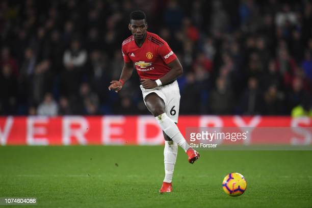 Manchester United player Paul Pogba in action during the Premier League match between Cardiff City and Manchester United at Cardiff City Stadium on...