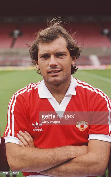 Manchester United player Ray Wilkins pictured at the pre season photocall before the 1980/81 season at Old Trafford in Manchester England