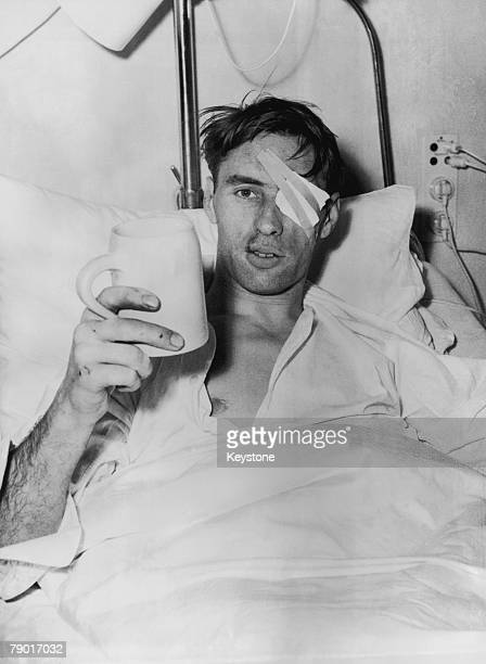 Manchester United player Ray Wood in bed with a Bavarian beer at the Isar Hospital in Munich where he is recovering from injuries sustained in the...