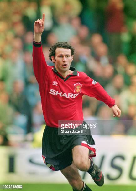 Manchester United player Ryan Giggs celebrates a goal during the Manchester City v Manchester United Premiership game at Maine Road on April 8 1996...