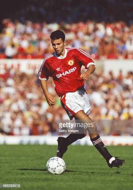 Manchester United player Ryan Giggs in action during a Division One match between Manchester United and Norwich at Old Trafford on September 7 1991...
