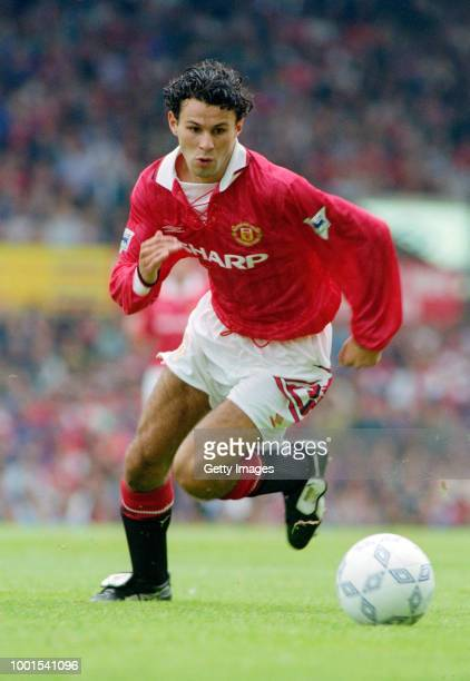 Manchester United player Ryan Giggs in action during a Premier League match against Ipswich Town at Old Trafford on August 22 1992 in Manchester...