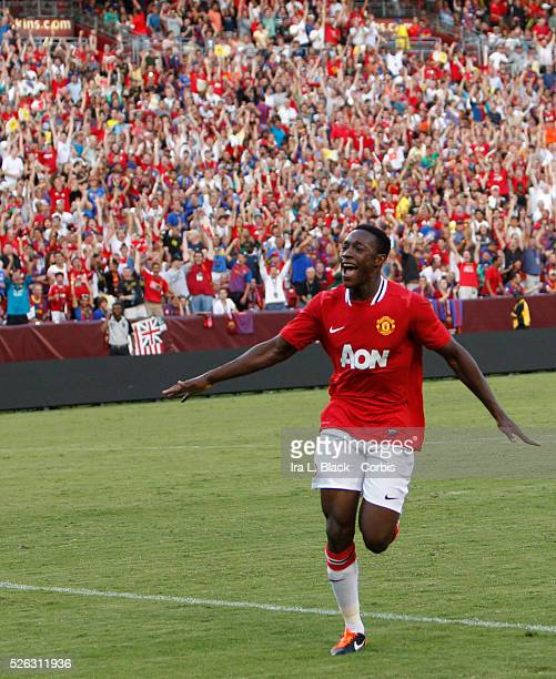 Manchester United player XX celebrates goal by teammate during the World Football Challenge Friendly match between FC Barcelona and Manchester...