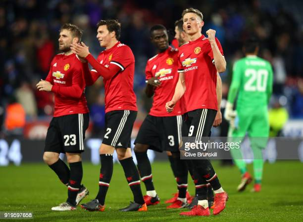 Manchester United players applauds fans after the The Emirates FA Cup Fifth Round between Huddersfield Town v Manchester United on February 17 2018...