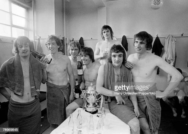Sport, Football, 26th April 1975, Division 2, Manchester United 4 v Blackpool 0, Manchester United players celebrate their Division 2 Championship...