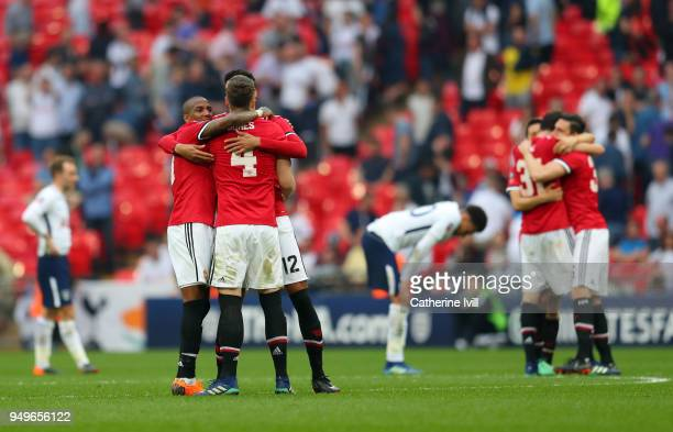 Manchester United players celebrate their sides victory after The Emirates FA Cup Semi Final match between Manchester United and Tottenham Hotspur at...