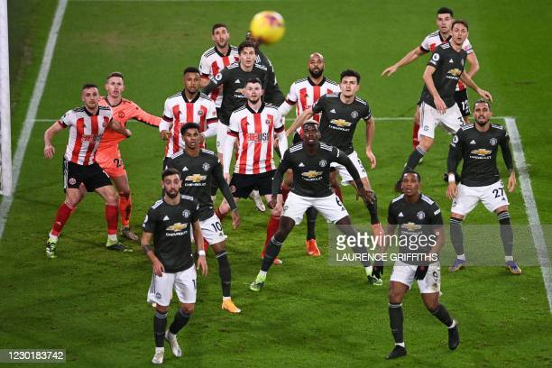 Manchester United players defend a corner kick during the English Premier League football match between Sheffield United and Manchester United at...