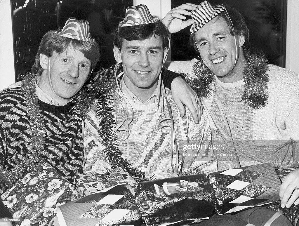 Gordon Strachan, Bryan Robson and Sammy McIlroy, c 1980s. : News Photo