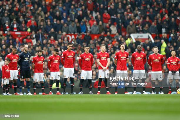 Manchester United Players line up for a minutes silence in tribute to the Munich air disaster ahead of the Premier League match at Old Trafford...