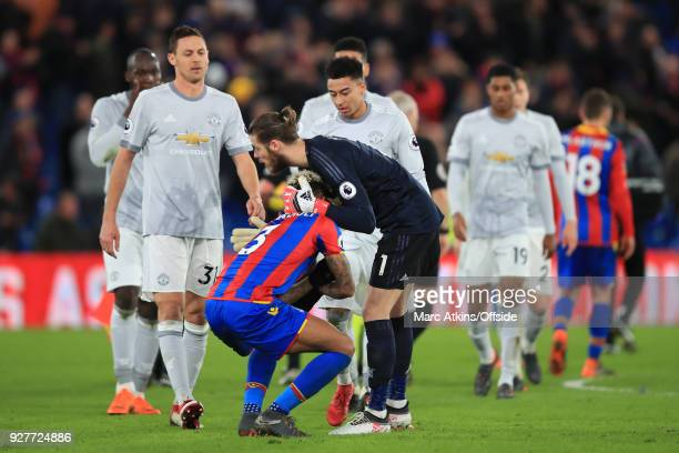 Manchester United players look on as David De Gea consoles Patrick van Aanholt of Crystal Palace during the Premier League match between Crystal...
