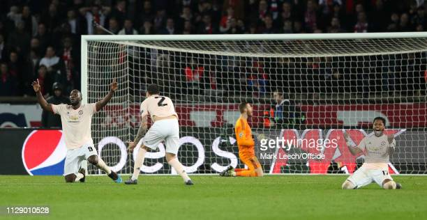 Manchester United players Romelu Lukaku and Fred celebrate at the final whistle of the UEFA Champions League Round of 16 Second Leg match between...