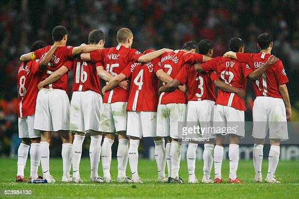 Manchester United players show togerness and team spirit as they watch the penalty shoot out during the UEFA Champions League Final between Chelsea...