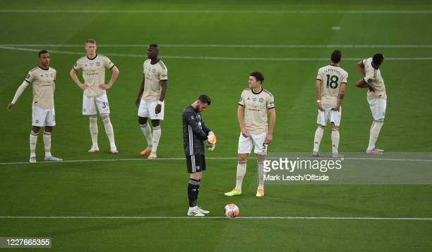 Manchester United players wait for kick off before the Premier League match between Crystal Palace and Manchester United at Selhurst Park on July 16,...