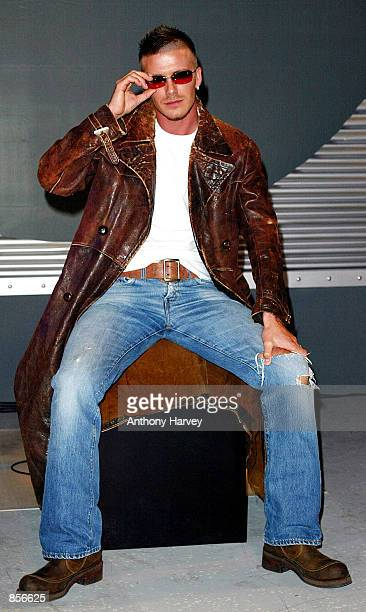 Manchester United soccer star David Beckham launches the New Range of Police sunglasses February 7 2002 in London England