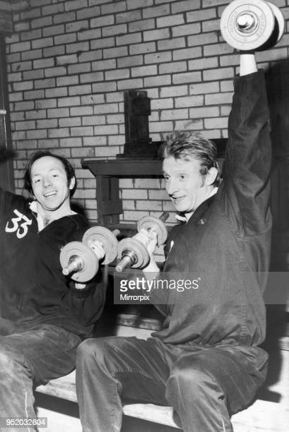 Manchester United stars Nobby Stiles and Denis Law seen here in training at The Cliff in Blackpool. Circa 1965.