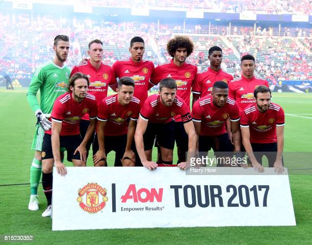 Manchester United starters pose for a photo before the match against the Los Angeles Galaxy at StubHub Center on July 15 2017 in Carson California