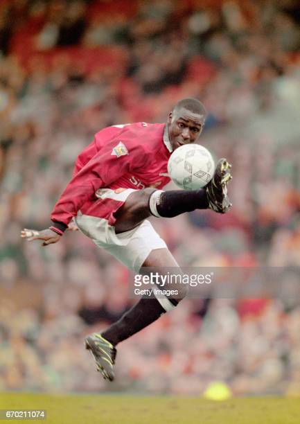 Manchester United striker Andrew Cole in action during a FA Premier League match against Coventry City on March 1 1997 in Manchester England