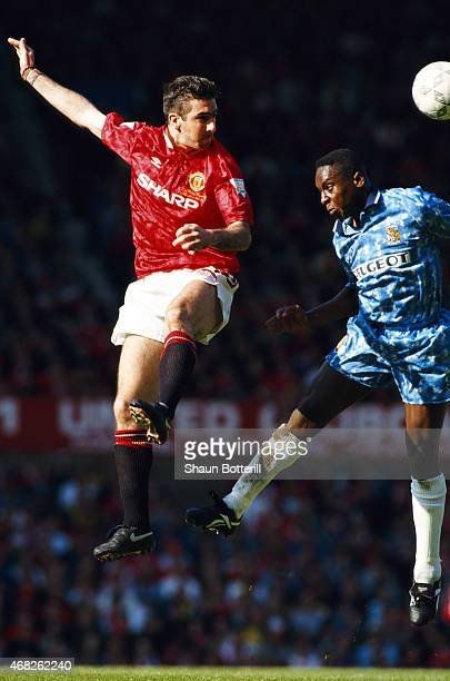 Manchester United striker Eric Cantona in action during an FA Premier League match against Coventry City at Old Trafford on May 8 1994 in Manchester...