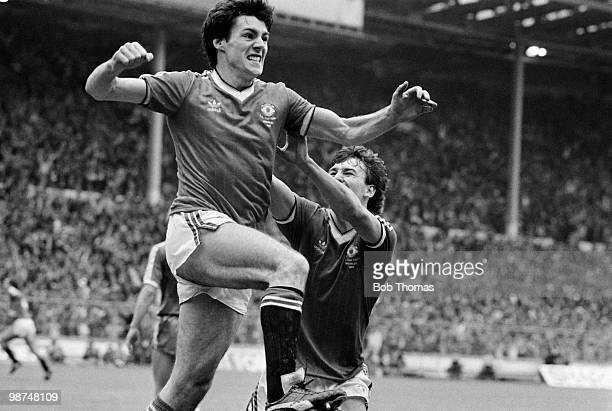 Manchester United striker Frank Stapleton celebrates after scoring their 1st goal against Brighton Hove Albion during the FA Cup Final at Wembley...