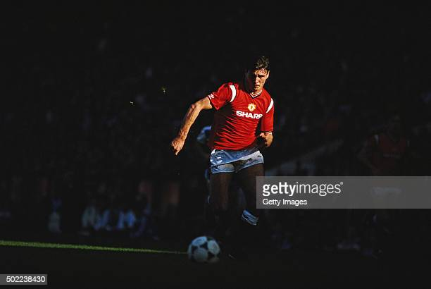 Manchester United striker Frank Stapleton in action during a Canon First Division match between Manchester United and Queens Park Rangers at Old...