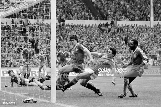 Manchester United striker Frank Stapleton scores their 1st goal against Brighton Hove Albion during the FA Cup Final at Wembley Stadium 21st May 1983...
