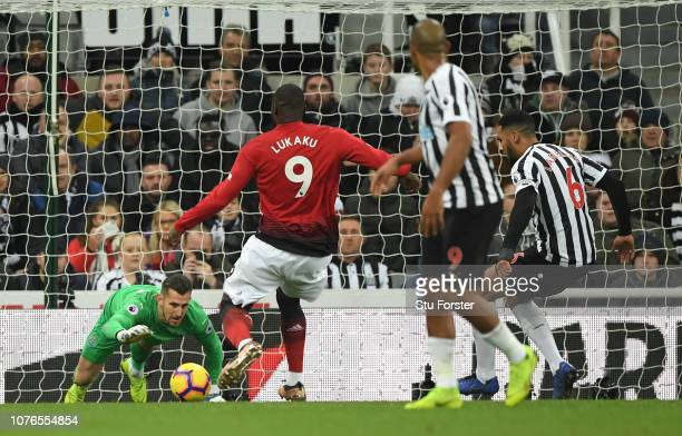 Manchester United striker Romelu Lukaku pounces on a mistake from Newcastle goalkeeper Martin Dubravka to score the first goal during the Premier...