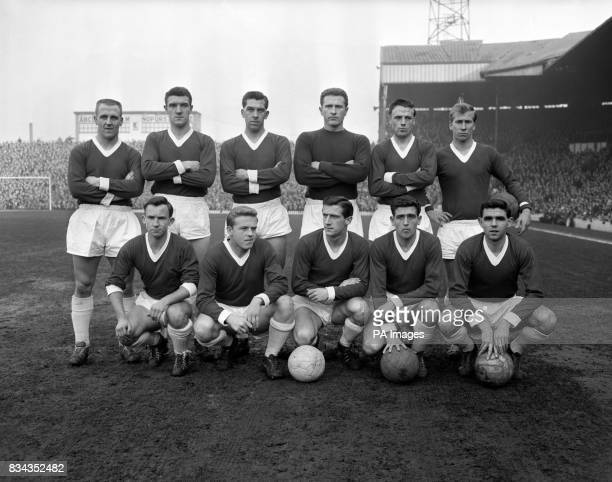Manchester United team back row left to right Maurice Setters Billy Foulkes Ron Cope Harry Gregg Albert Scanlon and Bobby Charlton Front row left to...