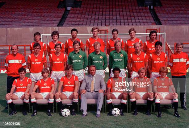 Manchester United team group at Old Trafford Manchester on 21st August 1984 Back row left to right Mike Duxbury Mark Hughes Paul McGrath Gordon...