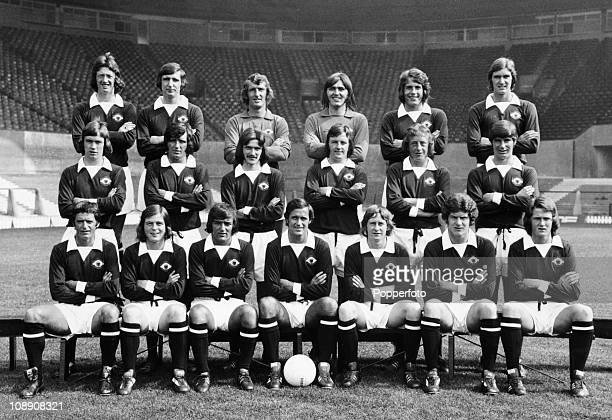 Manchester United team group at Old Trafford Manchester on 8th August 1973 Back row left to right Arnold Sidebottom Steve James Alex Stepney Jimmy...