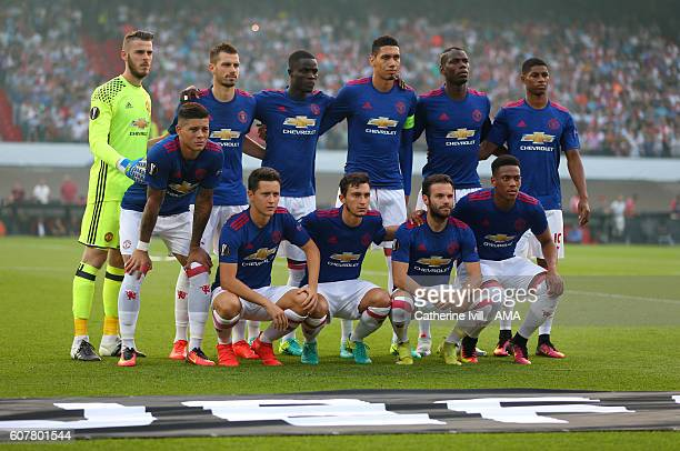 Manchester United team group photo before the UEFA Europa League match between Feyenoord and Manchester United at Feijenoord Stadion on September 15...