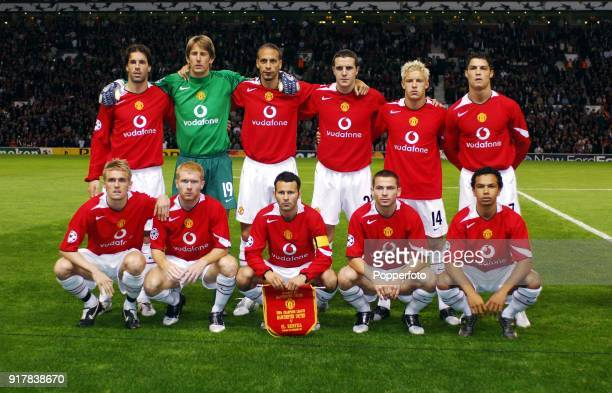 Manchester United team group prior to the UEFA Champions League Group D match between Manchester United and Benfica at Old Trafford in Manchester on...