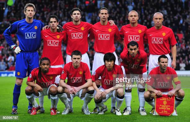 Manchester United team line up prior to the UEFA Champions League Quarter Final 2nd leg match between Manchester United and AS Roma at Old Trafford...
