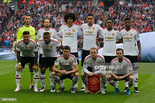 Manchester United team Manchester United's Spanish goalkeeper David de Gea Manchester United's Dutch midfielder Daley Blind Manchester United's...