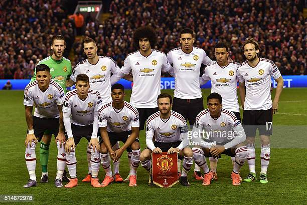 Manchester United team pose for photo before the UEFA Europa League Round of 16 first leg match between Liverpool and Manchester United on March 10...