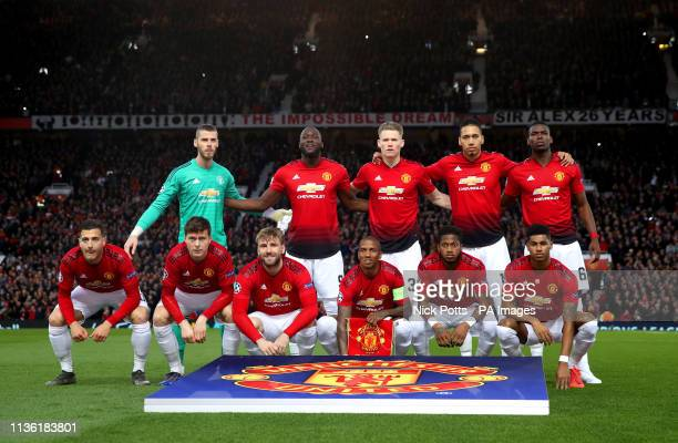 Manchester United team shot David de Gea Romelu Lukaku Scott McTominay Chris Smalling and Paul Pogba Diogo Dalot Victor Lindelof Luke Shaw Ashley...