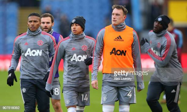 Manchester United team warm up prior to the Premier League match between Burnley and Manchester United at Turf Moor on January 20 2018 in Burnley...
