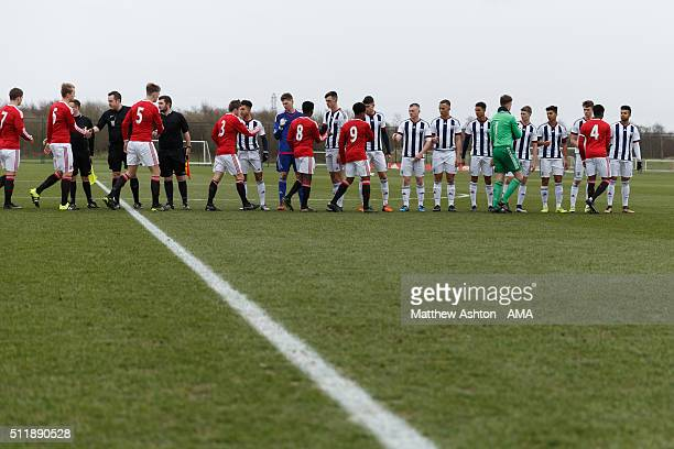 Manchester United U18 and West Bromwich Albion U18 players shake hands before the U18 Premier League match between Manchester United and West...