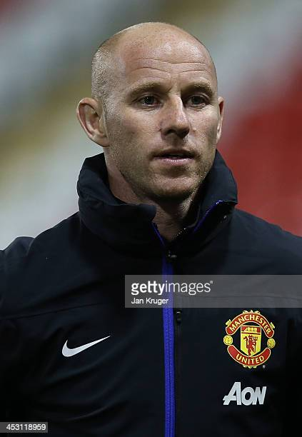 Manchester United U21 Manager Nicky Butt looks on during the Barclays U21 Premier League match between Blackburn U21 and Manchester United U21 at...
