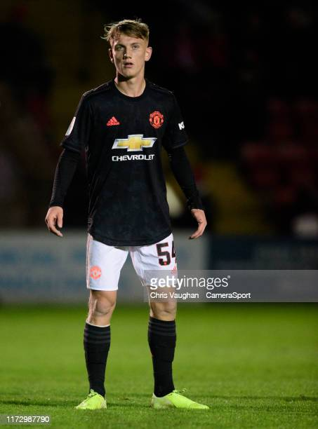 Manchester United U21's Ethan Galbraith during the EFL Leasingcom Trophy Northern Section Group H match between Lincoln City and Manchester United...