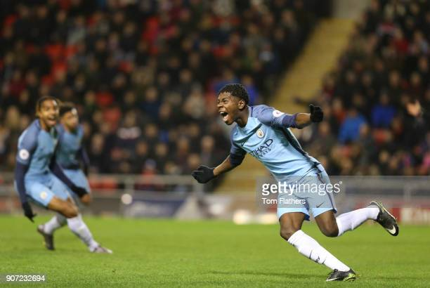 Manchester United U23 v Manchester City U23 Premier League 2 Leigh Sports Village ManchesterCity's Isaac BuckleyRicketts celebrates scoring against...
