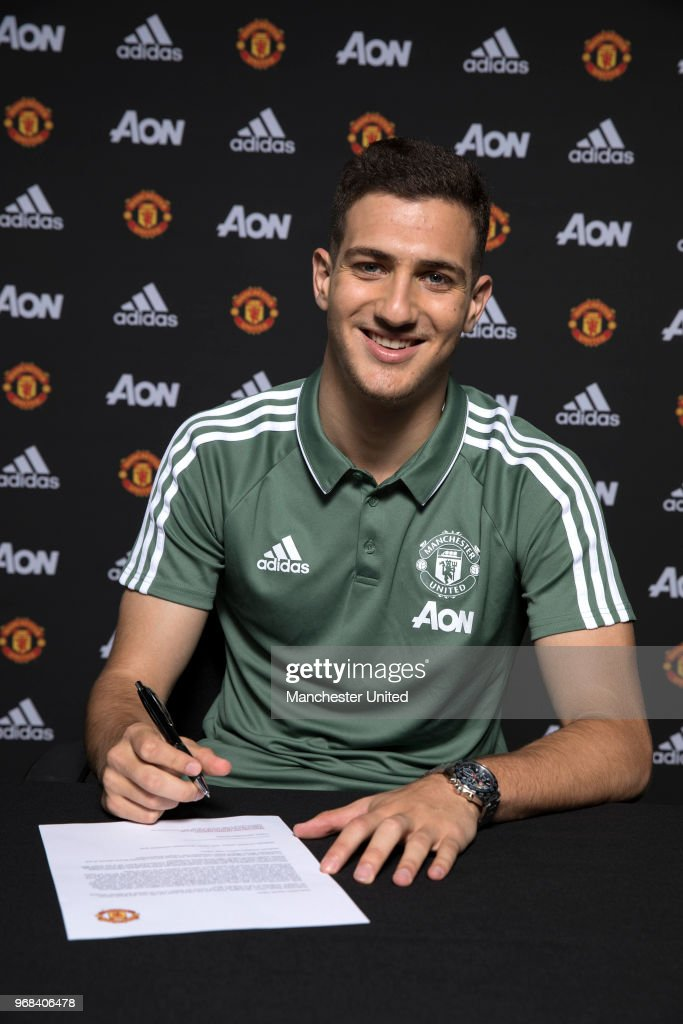 Manchester United unveil new signing Diogo Dalot at Aon Training Complex on June 5, 2018 in Manchester, England.