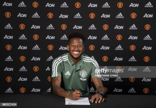 c1e2b4955 Manchester United unveil new signing Fred at Aon Training Complex on June 4  2018 in Manchester