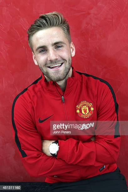 Manchester United unveils new signing Luke Shaw at the AON Training Complex on June 27 2014 in Manchester England