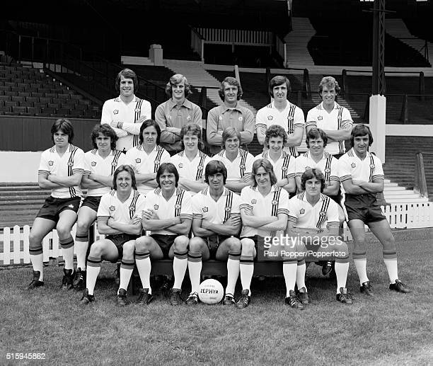 Manchester United wearing their away strip during the preseason photocall at Old Trafford in Manchester circa August 1975 Back row Jim Holton Paddy...
