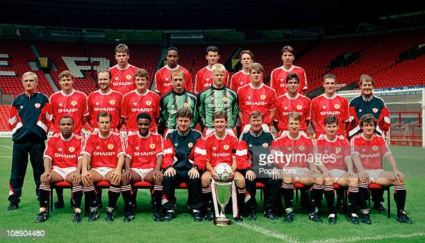 Manchester United with the European Cup Winners Cup at Old Trafford Manchester August 1991 Back row left to right Brian McClair Paul Ince Ryan Giggs...