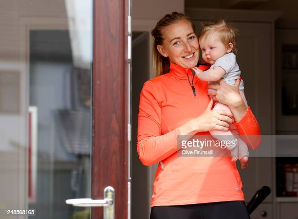 Manchester United Women and England goalkeeper Siobhan Chamberlain with her baby daughter Emilia after her training session at home on June 09 2020...