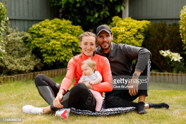 Manchester United Women and England goalkeeper Siobhan Chamberlain with her husband Leigh and their baby daughter Emilia after her training session...