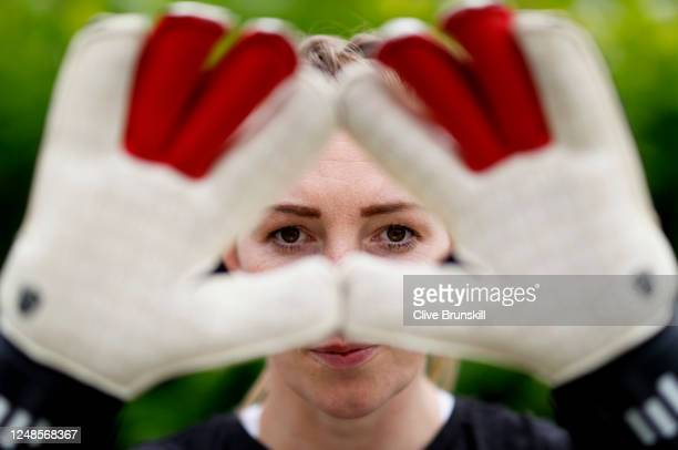 Manchester United Women and England goalkeeper Siobhan Chamberlain poses for a portrait after her training session at home on June 09 2020 in...