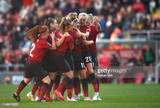 Manchester United Women players celebrates after Aimee Palmers goal during the Women's Super League match between Manchester United Women and Lewes...